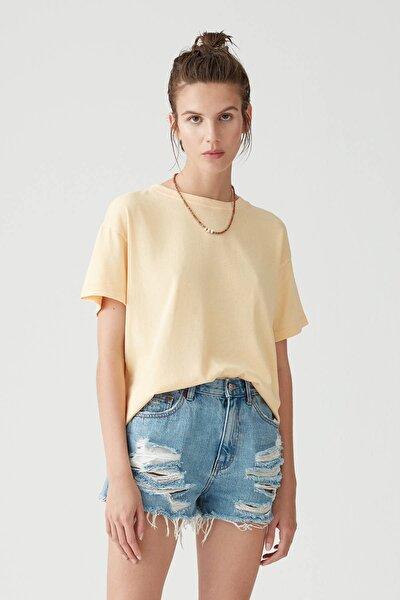 Kadın Şeftali Soluk Efektli Basic Oversize T-Shirt 05236365