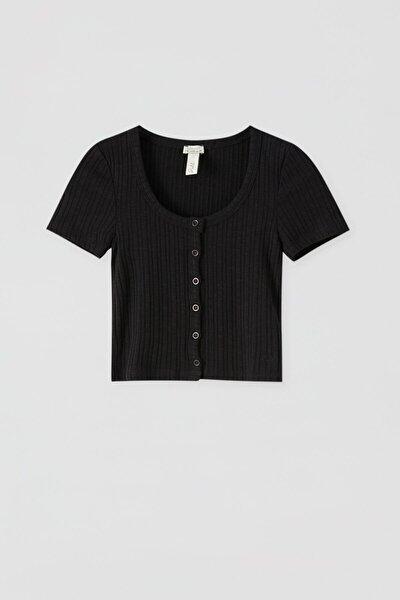 Kadın Siyah Önü Düğmeli Crop Top 05236391