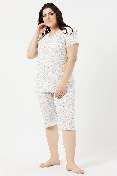 Büyük Beden Kaprili Kadın Pijama Takımı Çiçek Desenli