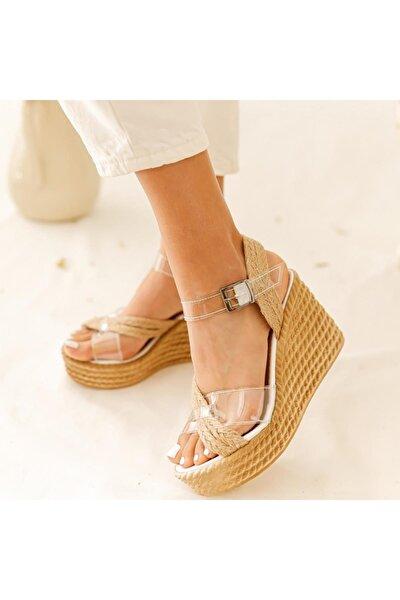 Kadın Ellie Şeffaf Hasır Bantlı Dolgu Topuk Ayakkabı