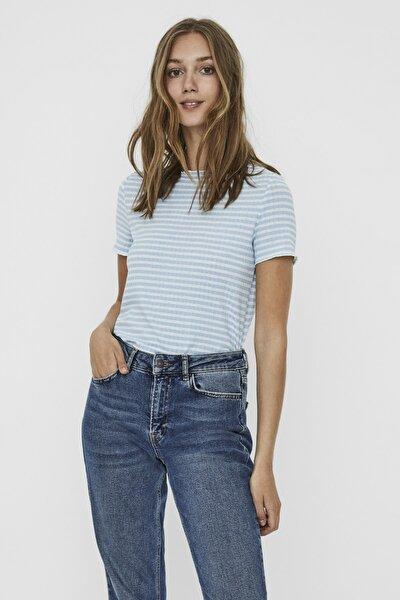 Kadın Beyaz Çizgili Ribli Kısa Kollu Örme T-Shirt 10227505 VMKIRI