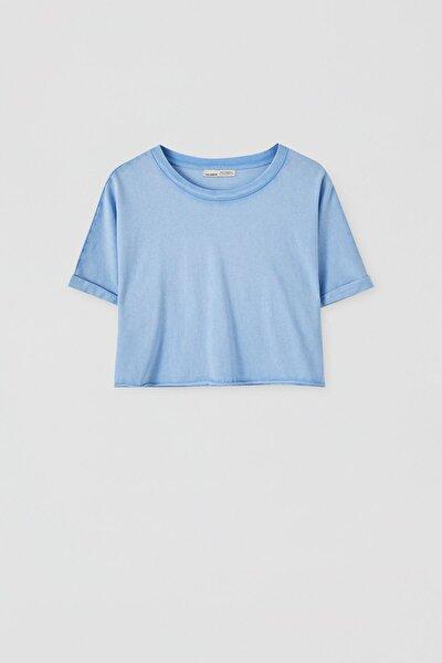 Kadın Soluk Mavi Kenarı Dikişsiz Crop Fit T-Shirt 05236327