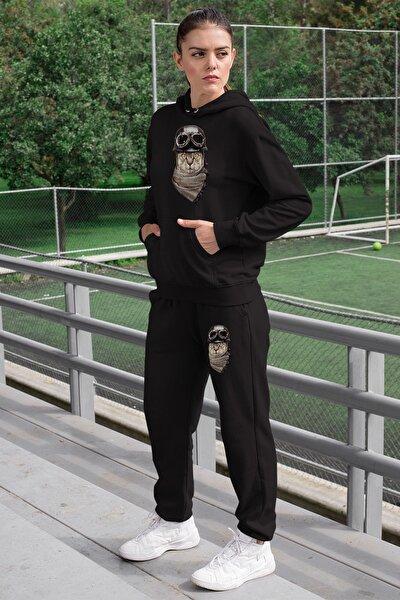 Wear Kasklı Motorcu Kedi Kadın Eşofman Takımı Siyah Kapşonlu Sweatshirt Siyah Eşofman Altı