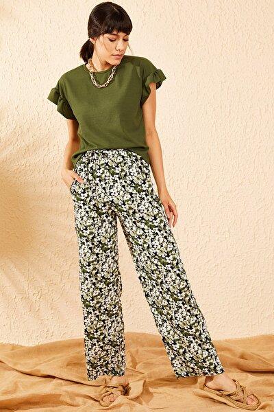 Kadın Haki Beli Lastikli Çiçek Desenli Cepli Rahat  Pantolon 10071024