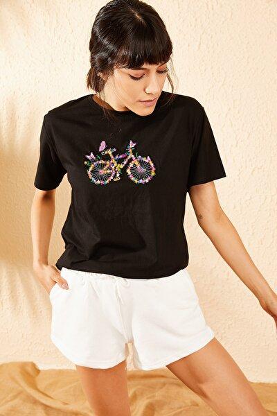 Kadın Beyaz Beli Lastikli Melanj Jogger  İki İplik Şort 10071053