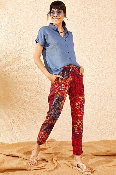 Kadın Kırmızı Beli Lastikli Multi Desenli Cepli Rahat Pantolon 10071025