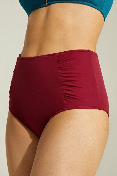 Kadın Yanı Pileli Yüksek Bel Bikini Alt - Bordo