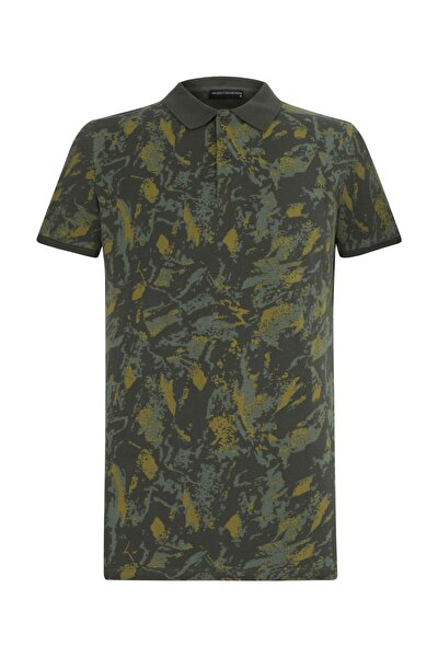 Erkek Haki Polo Yaka Baskılı Pamuk T-Shirt 375622
