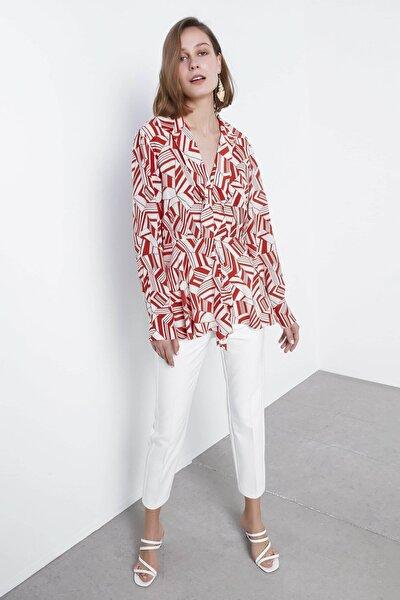 Kadın Turuncu Desenli Bluz IS1200006111054