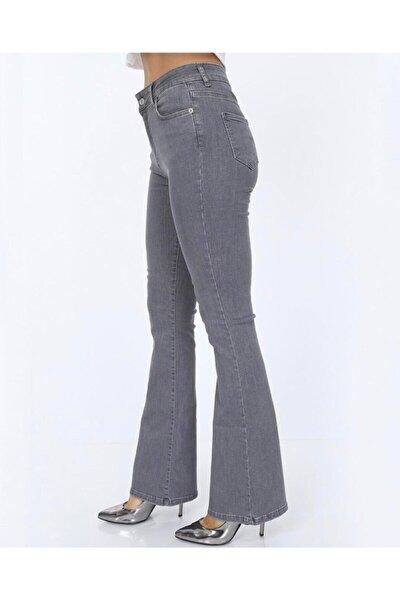 Açık Gri Ispanyol Paça Full Likralı Yüksek Bel Kot Pantolon