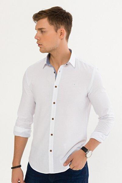 Erkek Beyaz Düz Alttan Britli Yaka Slim Fit Gömlek A92Y2116
