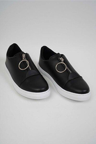Kadın Siyah Önden Fermuarlı Ayakkabı