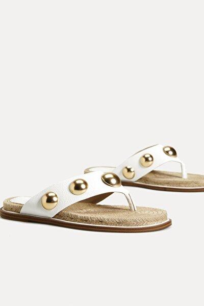 Kadın Beyaz Metal Aplikeli Sandalet