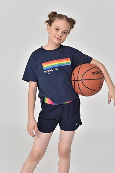 Lacivert Kız Çocuk T-shirt Gs-8150