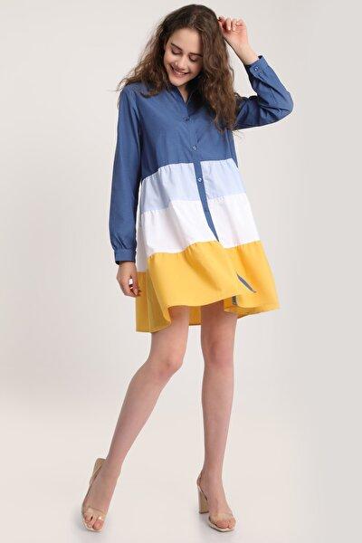 Kadın Indigo Renkli Kat Kat Tunik Gömlek Mdt5926