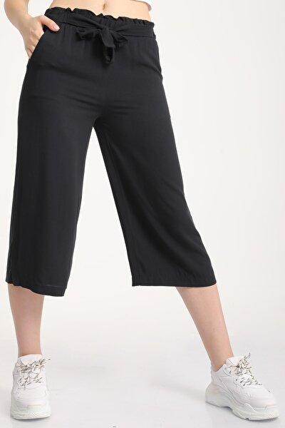 Kadın Siyah Bel Lastikli Bağlamalı Kısa Pantolon Mdt5979