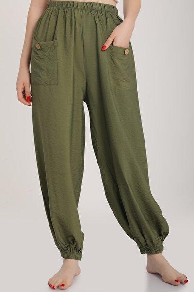 Kadın Haki Bel Lastikli Salaş Pantolon Mdt6144