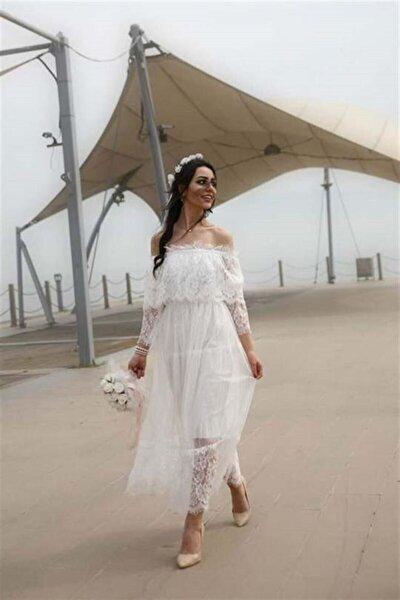 Madonna Yaka Dantelli Beyaz Elbise