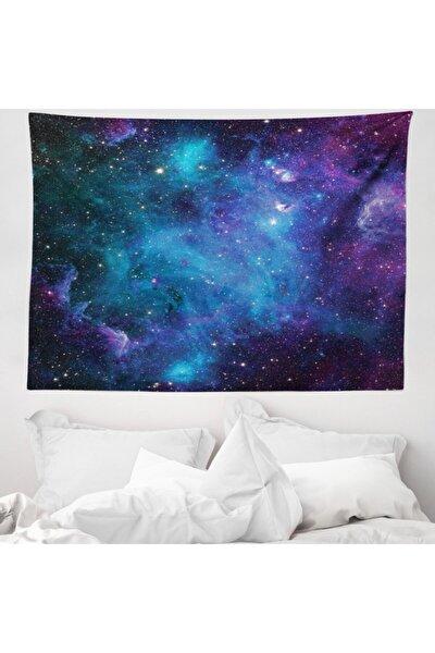Uzay Mikrofiber Geniş Duvar Halısı Mavi Mor Nebula Desenli