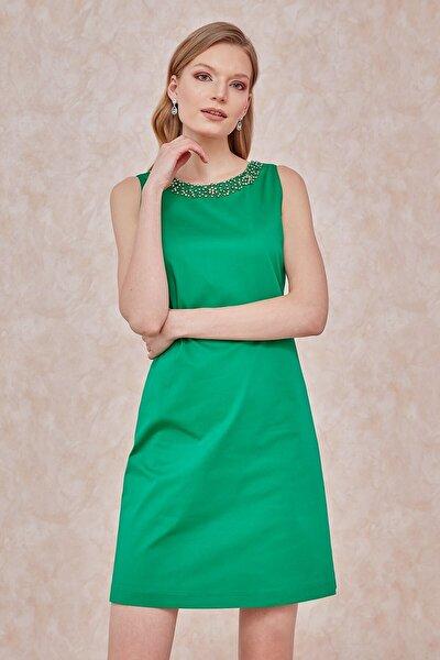 Elbise, Yaka Üstü Taş Işleme Detaylı,sırt U Dekolte, Kolsuz
