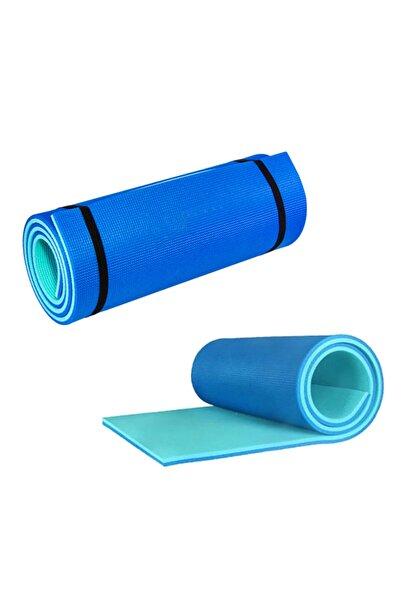 Pilates Ve Yoga Matı 180x60 cm 10 mm Çift Taraflı Turkuaz – Mavi