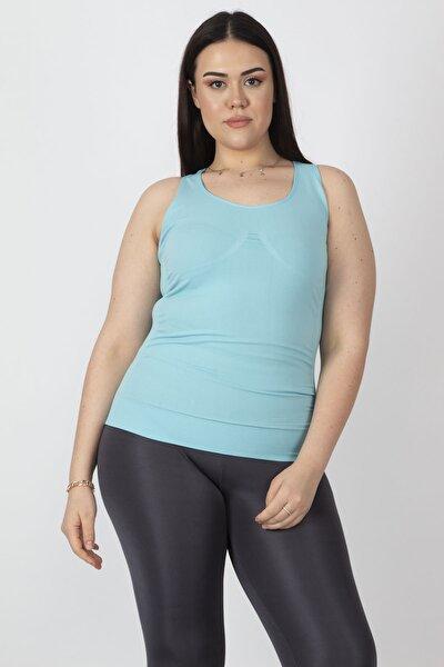 Kadın Turkuaz Sporcu Bluzu 65N16329