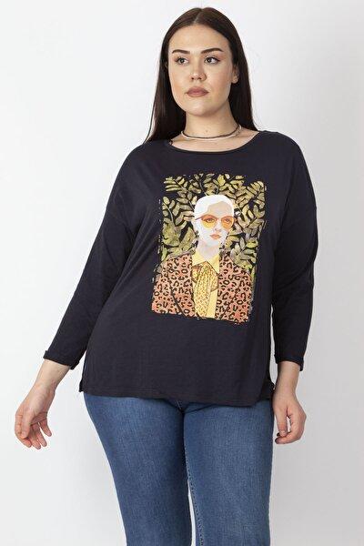 Kadın Lacivert Baskılı Bluz 65N16562