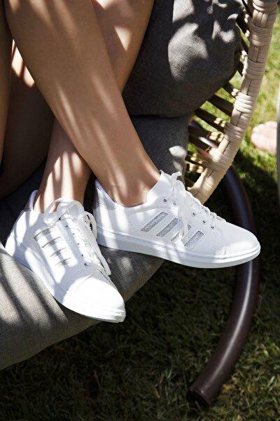 Beyaz Gümüş Kadın Spor Ayakkabı 4000-19-101001