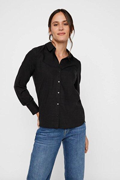 Kadın Siyah Siyah Uzun Kollu Lyocell Gömlek 10218724 VMTANYA