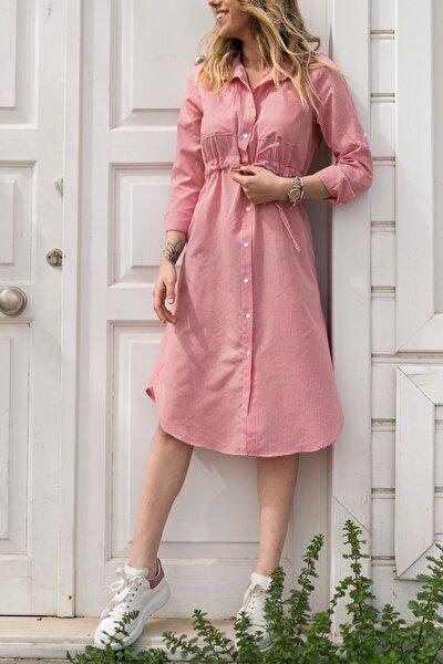 Kareli Beli Bağcıklı Elbise 0YXK6-43348-04