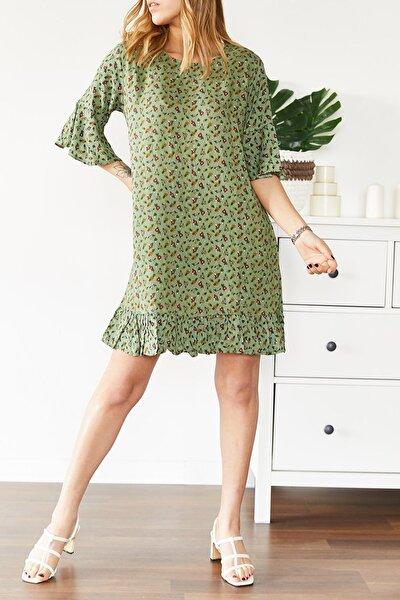 Kadın Su Yeşili Çiçek Desenli Kısa Elbise 0yxk6-43568-38