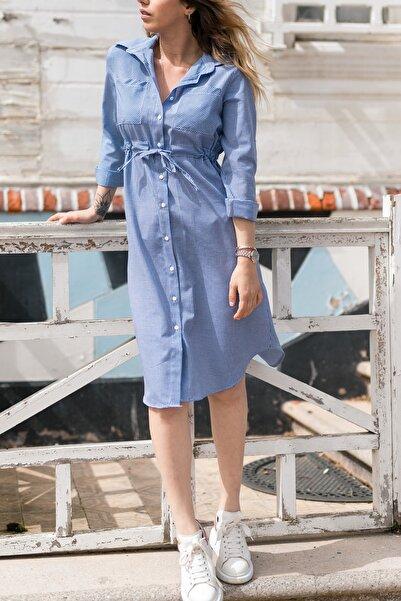 Kadın Mavi Kareli Beli Bağcıklı Elbise 0yxk6-43348-12