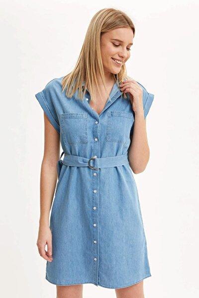 Kadın Mavi Kemer Detaylı Slim Fit Jean Elbise R0364AZ.20SM.NM63
