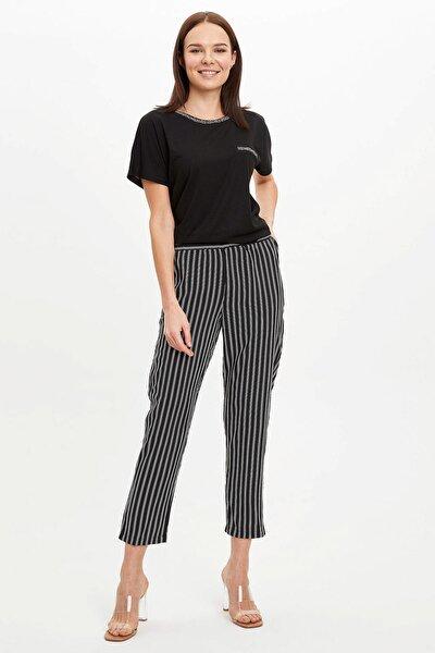 Kadın Siyah Harem Desenli Beli Lastikli Dokuma Pantolon R2204AZ.20SP.BK27