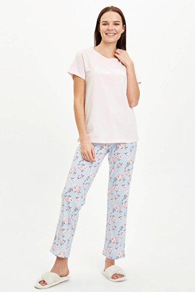 Kadın Mavi Baskılı Pijama Takımı R3838AZ.20SM.BE343
