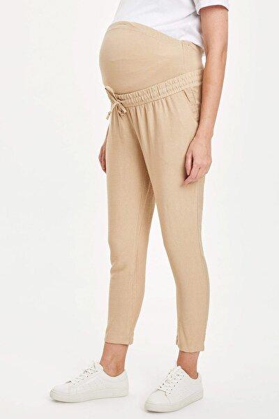 Kadın Bej Carrot Fit Belden Bağçıklı Cep Detaylı Hamile Pantolon R6211AZ.20SM.BG352