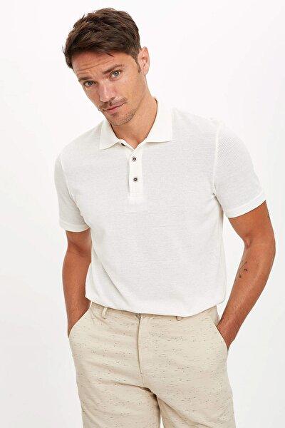 Erkek Bej Polo Yaka Kısa Kollu Regular Fit T-Shirt