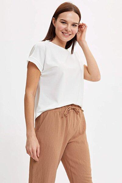 Kadın Ekru Düğme Detaylı Kısa Kollu T-Shirt N6690AZ.20SM.ER105