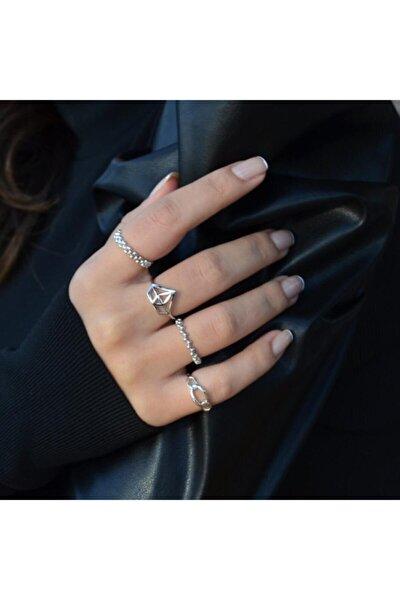 Kadın Kombin Eklem Yüzüğü 4 Adet