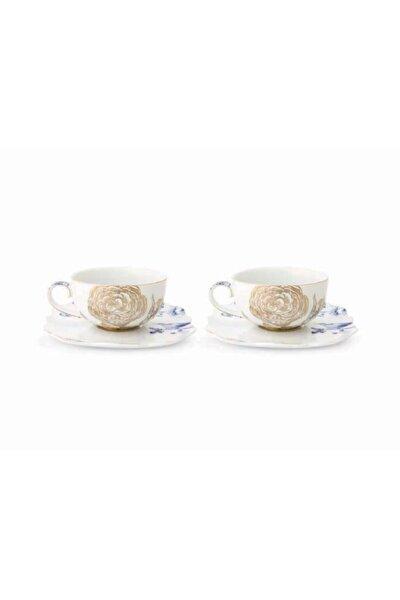 Royal Beyaz Ikili Altın Çiçek Desenli Çay Fincanı