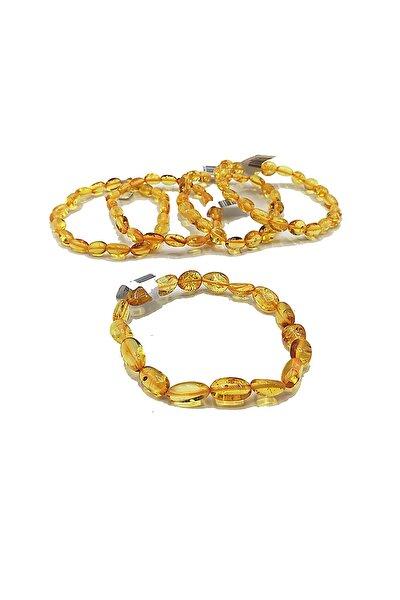 Üretici Sertifikalı Doğal Baltık Kehribar Erkek Kadın Yetişkin Bileklik Bal Rengi Renk Baltic Amber
