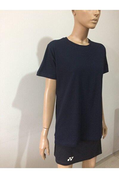 Unisex Lacivert Sıfır Yaka Desensiz T-Shirt