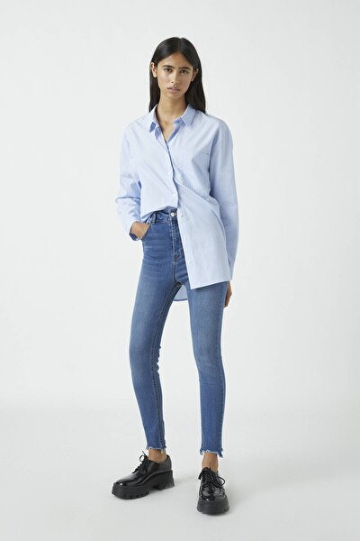 Kadın Orta Mavi Yüksek Bel Skinny Fit Kapri Jean 09689301