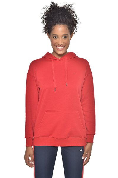 Kırmızı Kadın Kapüşonlu Sweatshırt GW-8785