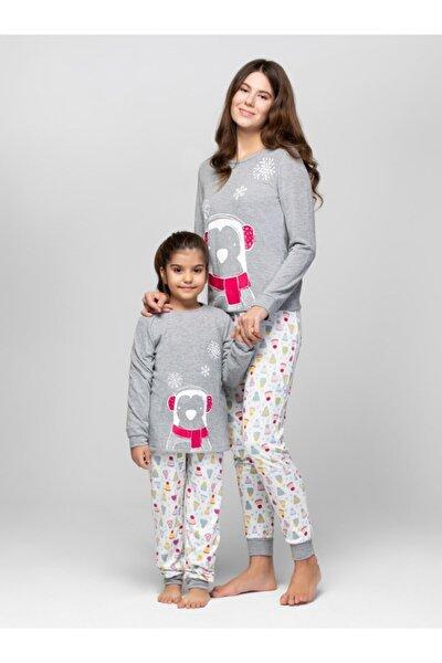 Kadın Gri Penguen Anne Kız Pijama Takımı