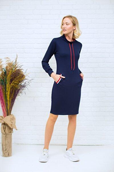 Kadın Lacivert Bağcıklı Iki Iplik Sweat Elbise