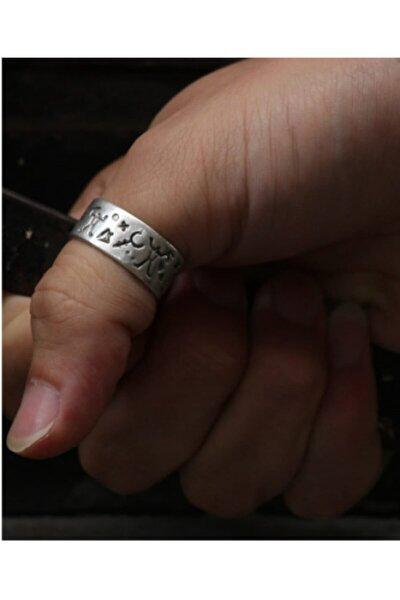Antik Gümüş Kaplama Ayarlanabilir Erkek Yüzük