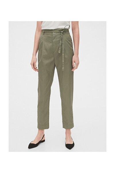 Kadın Yeşil Paperbag-Waist Khaki Pantolon 542981