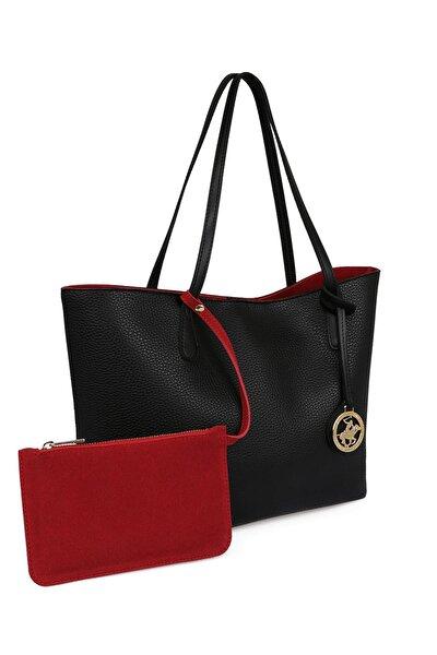 Kadın Tote Çanta Siyah, Kırmızı
