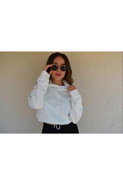 Kadın Beyaz Beli Bağlamalı Kapüşonlu Sweatshirt